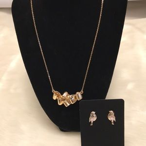 Elegant Necklace and Bird Earring Set